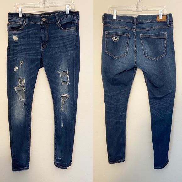 Express distressed legging jean medium wash short